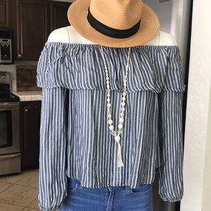 Mossimo Off the shoulder striped blouse